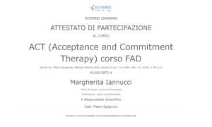 Attestato Ecomind ACT Iannucci psicologa