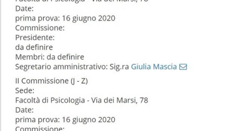 2020 Aprile 24 Esame di Stato per Psicologi